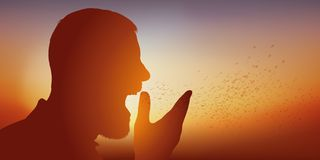 Pojęcie pollen alergia z mężczyzny kichnięciem w jego ręce ilustracji