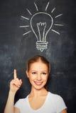 Pojęcie pomysł. kobieta i żarówka rysujący w kredzie na blackboard zdjęcie stock