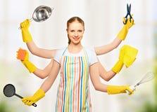 Pojęcie pomysł. wszechmocna ogólnoludzka kobiety gospodyni domowa z wiele Han Obraz Royalty Free