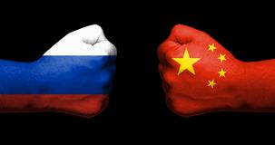 Pojęcie powiązania między Rosja i Turcja symbolizującymi dwa przeciwstawiać zaciskać pięściami obrazy royalty free