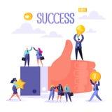 Pojęcie praca zespołowa biznesowy sukces Duża ręka z kciukiem w górę i szczęśliwymi płaskimi ludźmi charakterów Mężczyźni i kobie royalty ilustracja