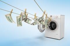 Pojęcie pranie brudnych pieniędzy pieniądze dolarowi rachunki na roupe 3d ender ilustracja wektor