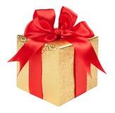 Pojęcie prezent - złocisty pudełko z czerwonym łękiem Zdjęcie Stock
