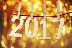 2017 pojęcie przycinać karty na bożonarodzeniowe światła tle Zdjęcie Stock