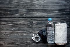 Pojęcie przygotowywa sprawność fizyczna sportów wyposażenia odgórny widok zdjęcia stock