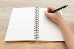 Pojęcie ręki writing na notatniku Obraz Stock