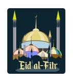 Pojęcie Ramadan Eid al-Fitr inskrypcja na tle meczet royalty ilustracja