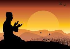 Pojęcie religia jest islamem Sylwetka mężczyzna modlenie i meczet, Wektorowe ilustracje Obraz Stock