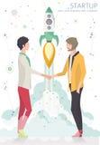 Pojęcie rozpoczęcie z rakietą royalty ilustracja