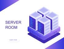 Pojęcie serweru pokój Gościć z obłocznym dane magazynem i serweru pokojem Serweru stojak obrazy stock