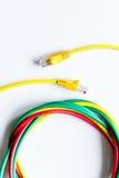 Pojęcie sieci interneta kabel na białego tła odgórnym widoku Zdjęcia Royalty Free