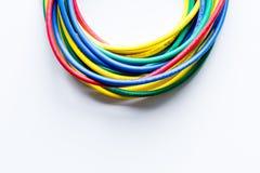 Pojęcie sieci interneta kabel na białego tła odgórnym widoku Obraz Stock