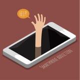 Pojęcie smartphone nałóg ilustracja wektor