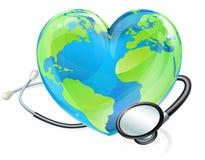 Pojęcie stetoskopu serca ziemi kuli ziemskiej Światowi zdrowie Zdjęcie Stock