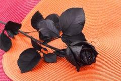 Pojęcie, symbol stroskania, melancholicznego i smutnego nastrój, Depresja i miłość czarna róża zdjęcia royalty free
