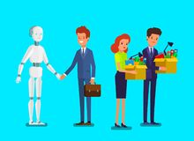 Pojęcie sztuczna inteligencja i biznesowa automatyzacja Biznesmen pozycja z robotem royalty ilustracja