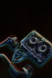 Pojęcie taśma dźwiękowa na błękitnej skale Zdjęcie Stock