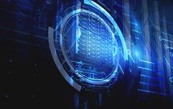 Pojęcie technologie informacyjne i duzi dane technologiczny tło holograma serweru futurystyczny pokój nowożytny Fotografia Royalty Free
