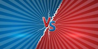 Pojęcie versus Szablon projekt dla przeciw, konfrontacja, rywalizacja lub wyzwanie, VS listy na retro tle wektor ilustracja wektor