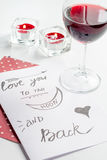 Pojęcie walentynki ` s dnia list miłosny na białym tle Fotografia Royalty Free