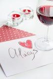 Pojęcie walentynki ` s dnia list miłosny na białym tle Zdjęcia Stock