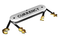 Pojęcie: waluta znak na nożu świadczenia 3 d Obraz Royalty Free