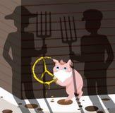 pojęcie wegetarianizm mała świnia robi graffiti na ścianie stajnia szyldowy pacyfizm Zobaczył rolników z pitchforks royalty ilustracja