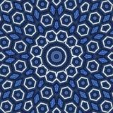 Pojęcie wolność, arabeskowy mandala ornament w błękitnych i białych heksagonalnych elementach ilustracji