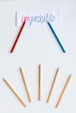 Pojęcie wyboru opcje z ołówkami na białego tła odgórnym widoku Obraz Royalty Free