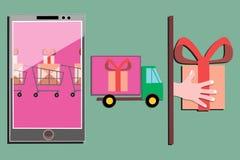 Pojęcie zakupy dla towarów używać twój telefon nad internetem, Zdjęcie Stock