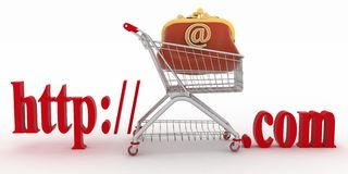Pojęcie zakupy na stronach internetowych reklama Zdjęcia Stock