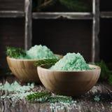 Pojęcie zdrój z solą i sosną rozgałęzia się Obraz Stock