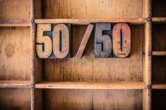 50/50 pojęcia Letterpress Drewnianych tematów Zdjęcie Stock