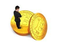 Pojęcie Bitcoin kopalnictwo, blockchain technologia, cryptocurrency Zdjęcia Royalty Free