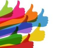 poj?cie cyfrowo wytwarza? cze?? wizerunku sieci res socjalny Barwione ręki z aprobatami Pozytyw i zatwierdzenie Online spo?eczno? ilustracji