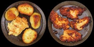 Pojęcie czarna tania kuchnia i niezdrowy jedzenie Zdjęcia Royalty Free