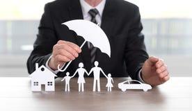 Pojęcie domu, rodziny i samochodu ochrony sprawozdanie, Obraz Stock