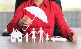 Pojęcie domu, rodziny i samochodu ochrony sprawozdanie, Fotografia Royalty Free
