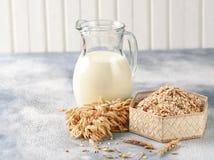 Pojęcie jarska dieta Owsa mleko w owsów ucho, dzbanku i owsie i obraz stock