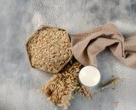 Pojęcie jarska dieta Owsa mleko w owsów ucho, szkle i owsie i Odgórny widok obrazy royalty free