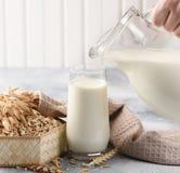Pojęcie jarska dieta Owsa mleko w szkle z dzbankiem owsa mleko, owies i owsów ucho obrazy stock