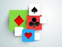 Pojęcie kasyno z karcianymi symbolami Obrazy Royalty Free