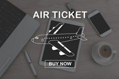 Pojęcie lotniczego bileta rezerwacja Zdjęcia Stock
