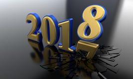 Pojęcie nowy rok 2018, 3d rendering Zdjęcie Royalty Free