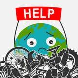 poj?cie planeta save ?mieci? planet? z odchody ludzcy Planety ziemia pyta dla pomocy rozjaśniać je śmieci ilustracja wektor
