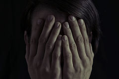 Pojęcie strach, przemoc domowa Zdjęcia Stock