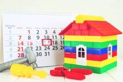 Pojęcie Stycznia 17 dzieciaka nowatorów ` dnia kalendarzowy dom childr Obrazy Royalty Free