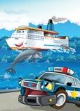 Pojazd i statek - ilustracja dla dzieci ilustracji