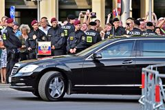 Pojazd Vladimir Putin w Wiedeń na 5th 2018 Czerwu Zdjęcia Stock