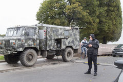 Pojazd wojskowy w ulicie, st peterburg Fotografia Stock